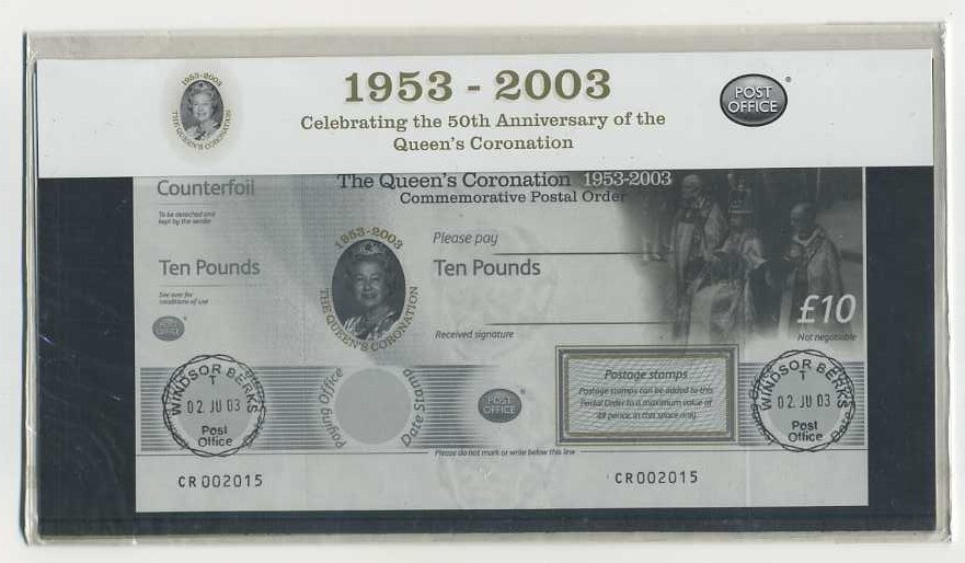 2003 GB - 50th Anniversary of the Coronation £10 Postal Order PP